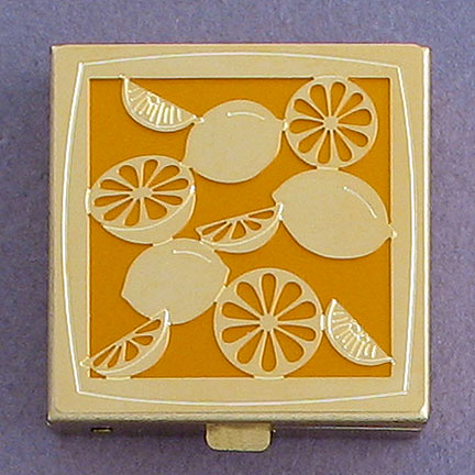 Lemon Vitamin Box - Citrus Aluminum with Gold Design