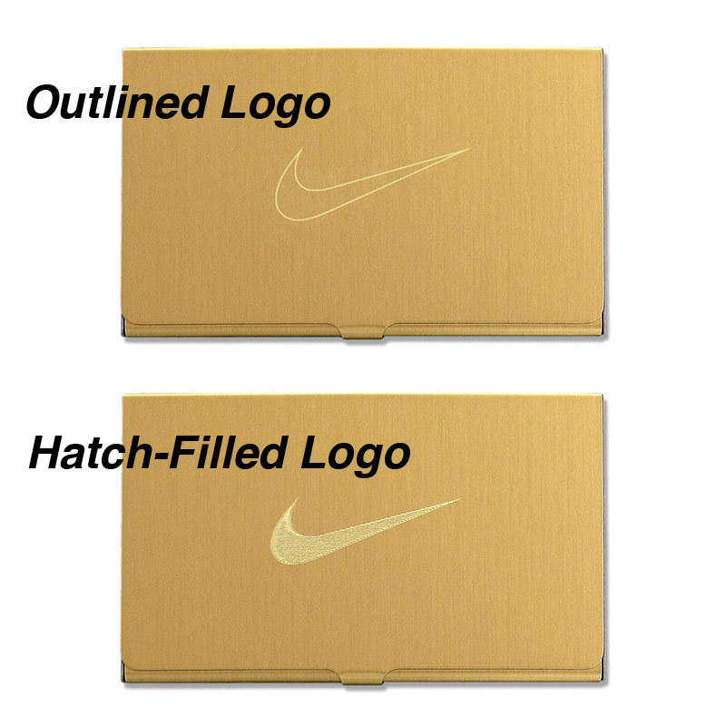 Logo engraved business card case outline vs. hatch-filled
