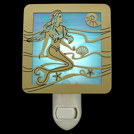 Brushed Brass and Turquoise Night Light - Mermaid