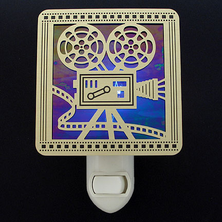 Brushed Brass and Cobalt Blue Night Light - Movie Projector