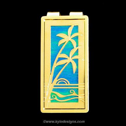Palm Tree Money Clip - Iridescent Aqua with Gold Design