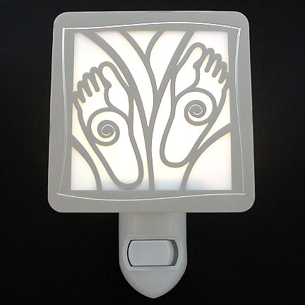 Polished Silver and White Night Light - Feet