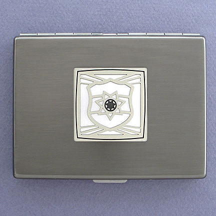 Police Officer Metal Wallet - Silver Aluminum with Silver Design