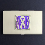 Purple Ribbon Business Card Holder