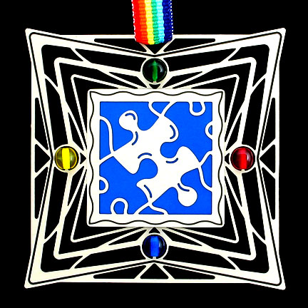 Rainbow Jigsaw Puzzle Autism Ornament
