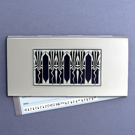 Retro Art Deco Checkbook Case - Black Aluminum with Silver Design