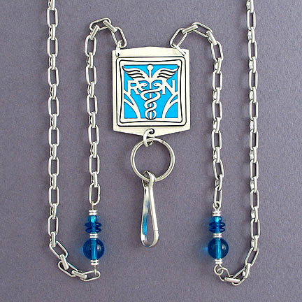 Nursing Beaded Lanyard Necklace - Turquoise Aluminum with Silver Design