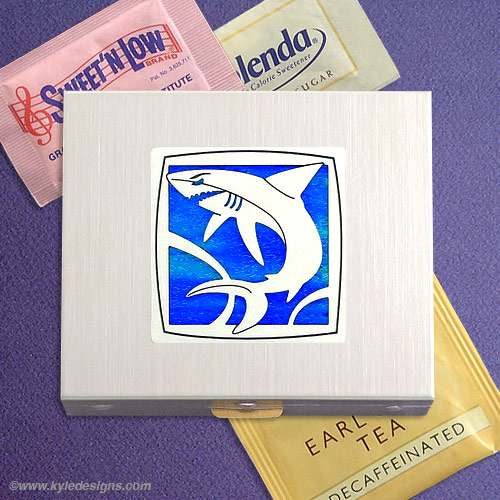 Shark Sugar Packet Case - Iridescent Ocean with Silver Design
