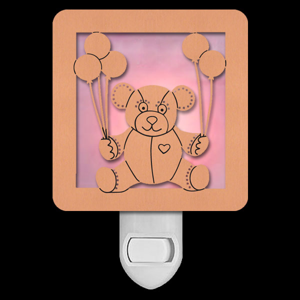 Copper with Pink Stained Glass Night Light - Teddy Bear