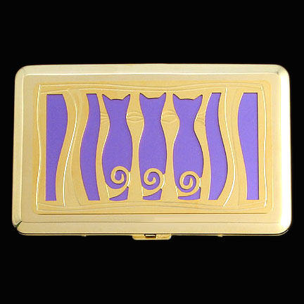 Three Cats Credit Card Case - Orchid Aluminum with Gold Design