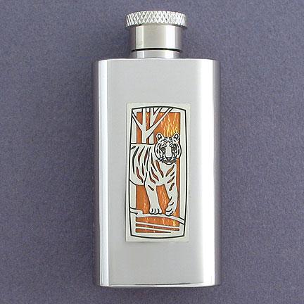 Tiger Boot Flask - Amber Iridescent with Silver Design
