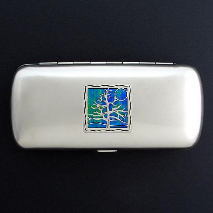Tree Eyeglasses Case - Iridescent Rainforest with Silver Design