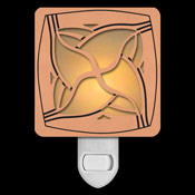Copper with Amber Stained Glass Night Light - Twist