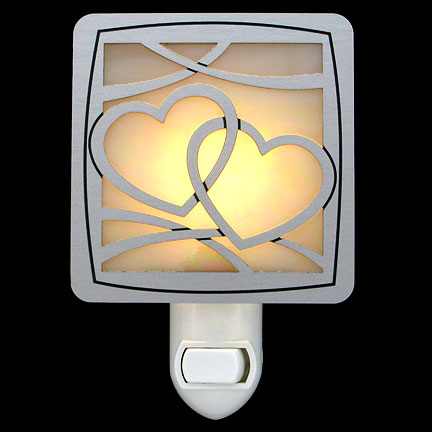 Brushed Silver and Amber Night Light - Interlocked Hearts