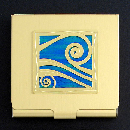 Wave Square Business Card Case - Ocean Iridescent with Gold Design