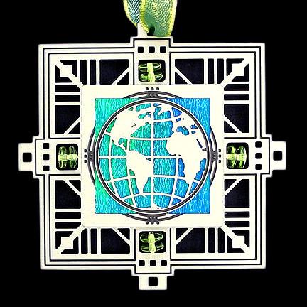 World Ornament - Aqua Iridescent with Silver Design