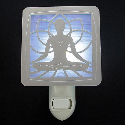 Polished Silver and Light Blue Night Light - Yoga