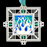 Fire Ornament in Etched Metal Flames Design - Engravable