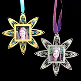 Custom Picture Frame Ornaments with Beads, Ribbon