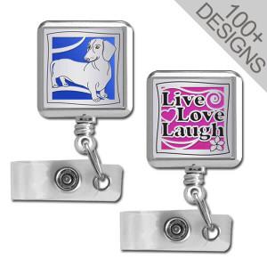 Square Retractable Badge Reels - Choose Designs