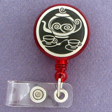 Tea Pot Retractable ID badge holder reel is customized just for you.