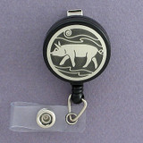 Cute Pig Retractable I.D. Name Badge Holder
