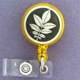 Walnut Leaves Retractable Name Badge Holder