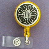 Pretty Sunflower Retractable Name Badge Reels