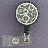 Motor Gears Retractable Name Badge Holder Reel