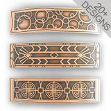 Copper Hair Barrettes - Large Decorative Etched Metal Designs