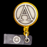 Monogram Letter A Retractable ID Name Badge Reel