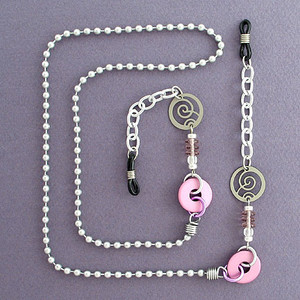 Silver & Pink Beaded Eyeglasses Chain