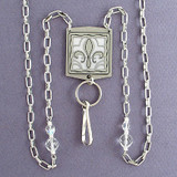 Fleur De Lis Badge Holder Necklaces or Eyeglasses Chains