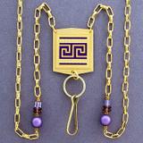 Greek Fret ID Holder Necklace or Eyeglasses Chain
