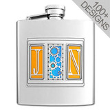 Decorative 8 Oz Flask Personalized with Any 3 of 100s of Tall Designs