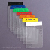 Vertical Assorted Color Plastic Name Badge Holders