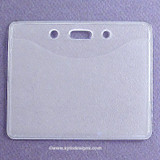 Clear Horizontal Top Load Pocket Badge Holder with Slot & Chain Holes