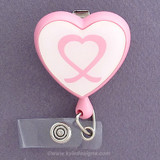 Pink Ribbon Heart Shaped Retractable ID Name Badge Holders