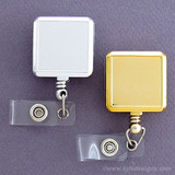 Square Metallic Retractable Name Badge Holders
