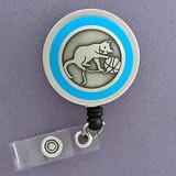Blue Cat Badge Reel Gift for Cat Lovers