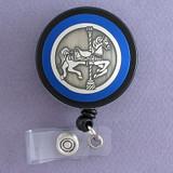 Blue Carousel Horse Badge Reel