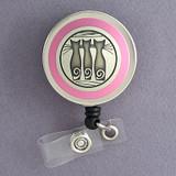 Pink Cat Name Badge Reel
