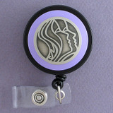 Purple Badge Holder with Face Profiles