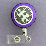 Purple Puzzle Piece Badge Reel