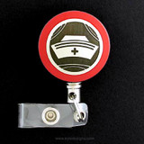 Red Vintage Nurse Cap Badge Reel