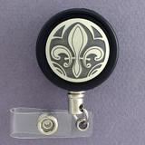 Elegant Black and Silver Fleur de Lis Badge Reel