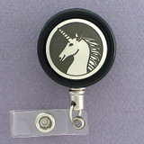 Black and Silver Unicorn Badge Reel