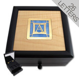 Monogrammed Glass & Exotic Wood Jewelry Box