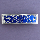 Blue Abstract Circles Large Hair Barrette