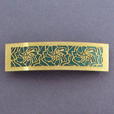 Large Green and Gold Hibiscus Hair Barrette
